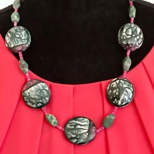Ruby in Zoisite Necklace & Earrings Set